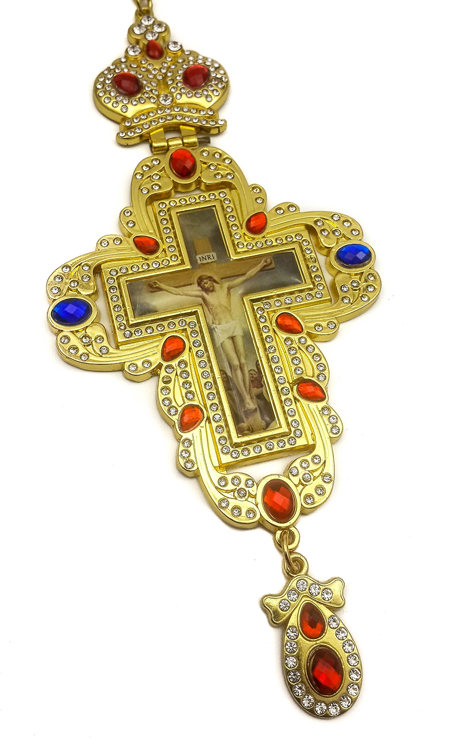 Pectoral Cross Multi Zircons Crystallized Elements Christian Priest Crucifix 20'' by Nazareth Store