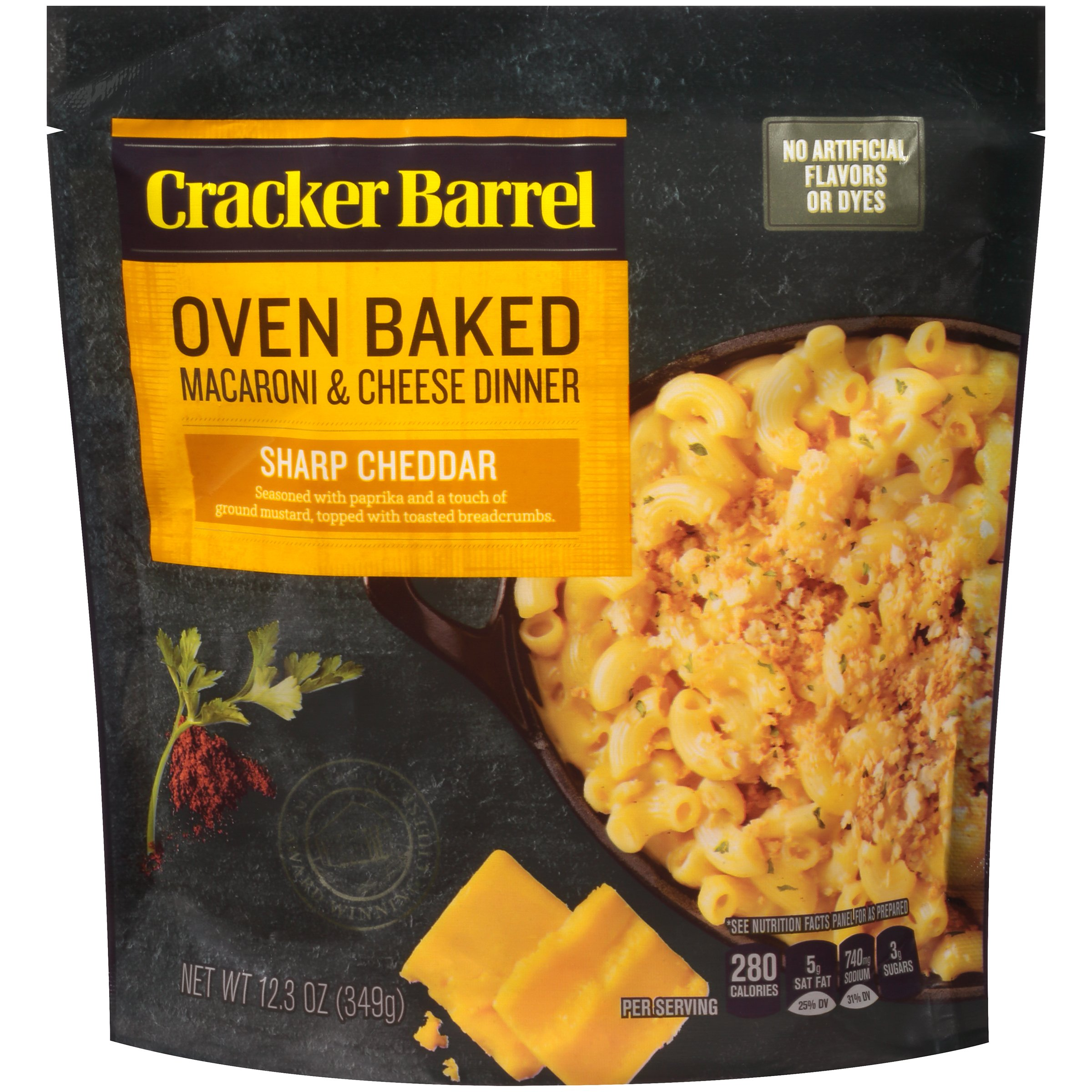 Cracker Barrel Oven Baked Macaroni & Cheese Dinner, Sharp Cheddar, 12.34 Ounce (Pack of 5) by Cracker Barrel