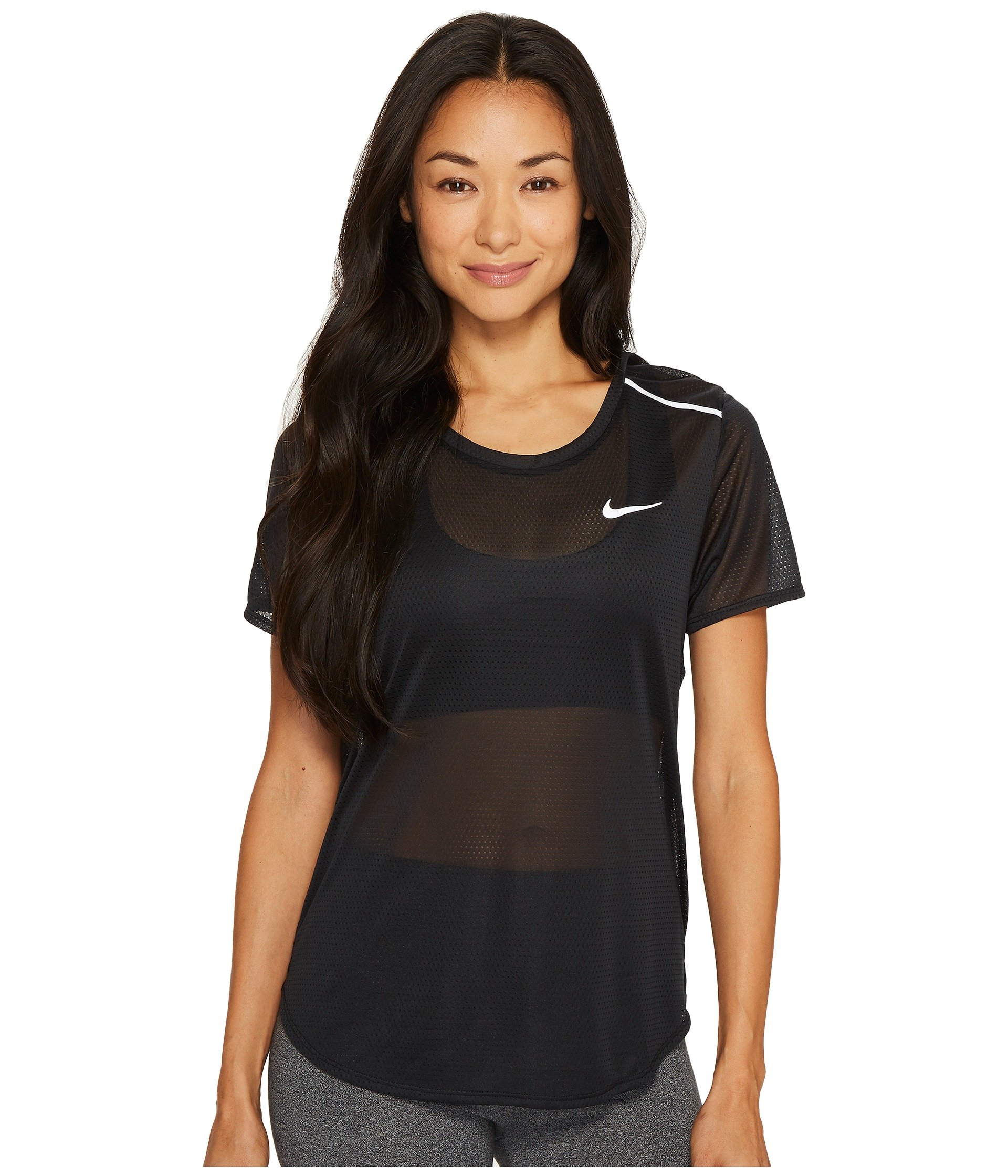NIKE Womens Breathe Open Back Running Pullover Top Black M