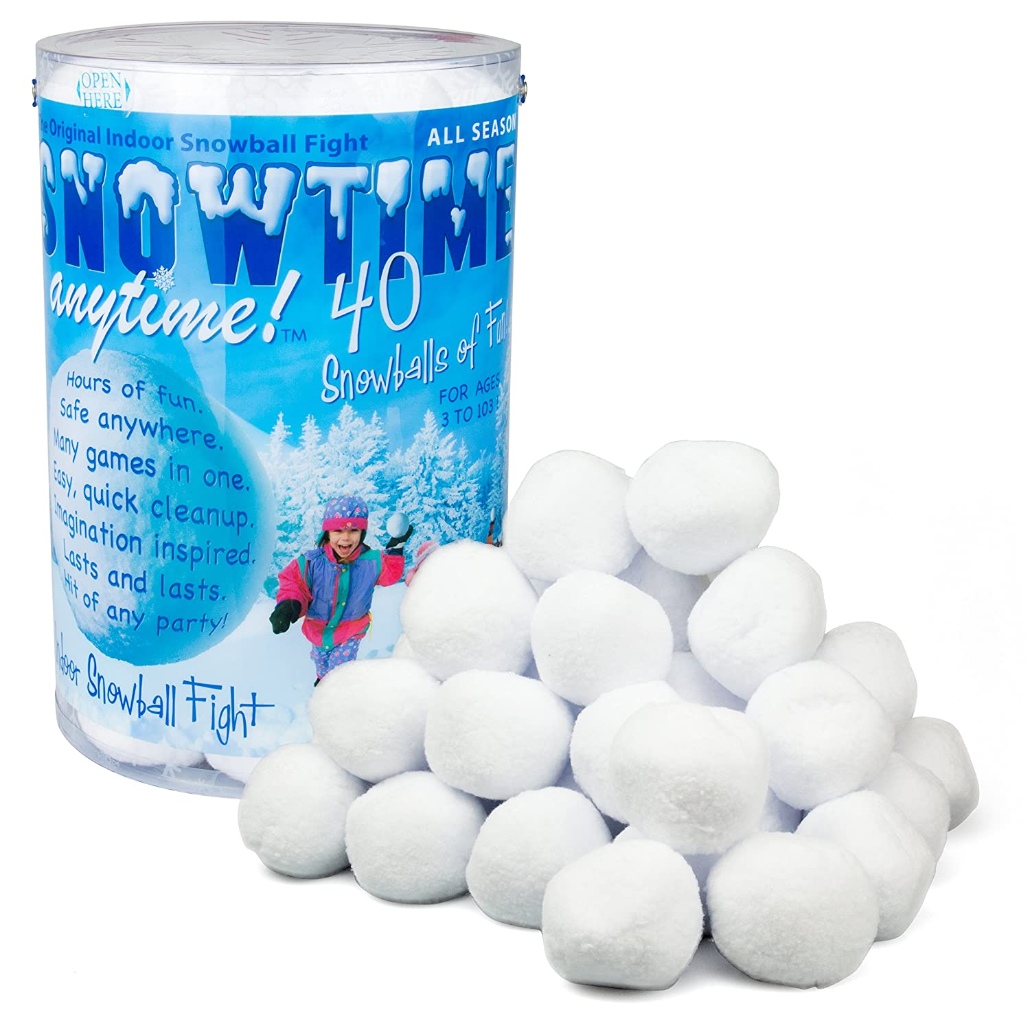 Amazon Indoor Snowball Fight SNOWTIME ANYTIME 40 pk Toys & Games
