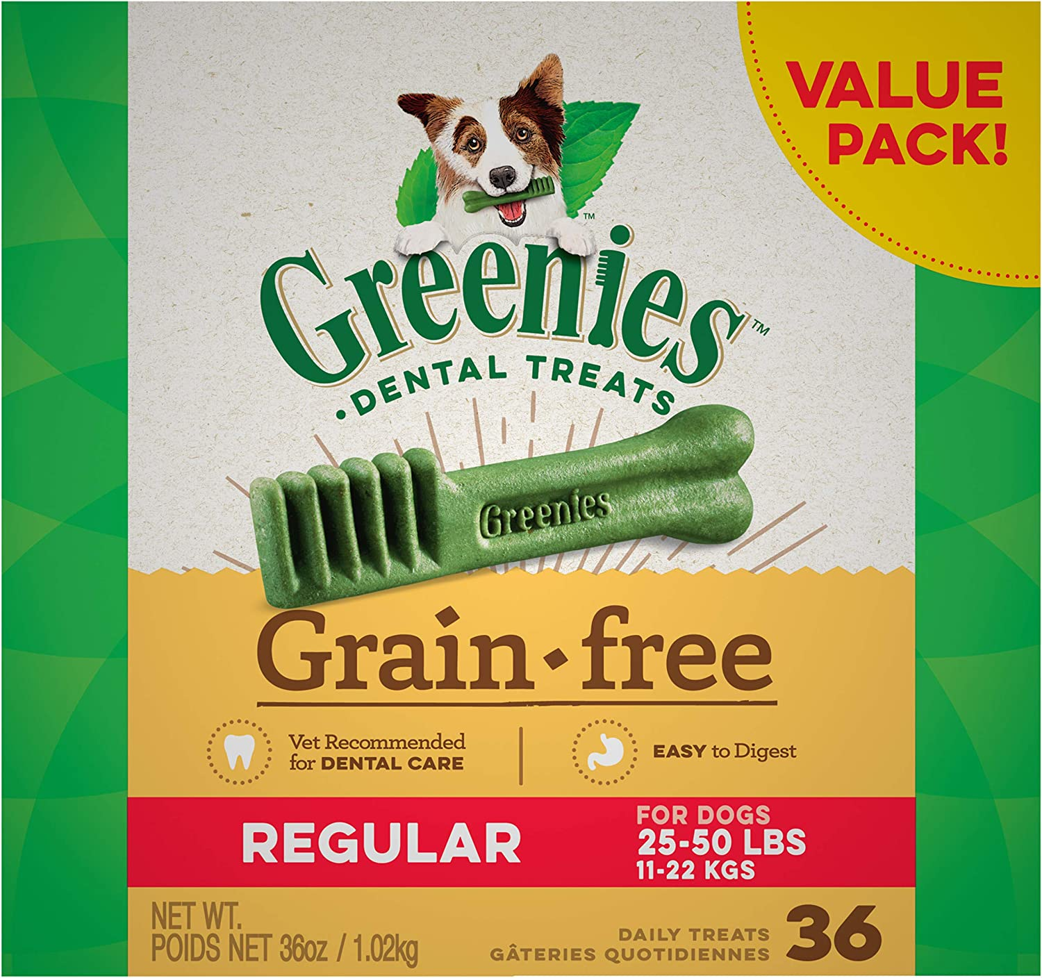 GREENIES Grain Free Natural Dental Dog Treats - Regular (25-50 lb. dogs)