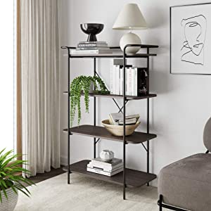 Nathan James Sawyer 4 Tier Shelf Etagere Bookcase, Small Entryway Console Table Modern Industrial Metal Bookshelf, Dark Oak/Matte Black