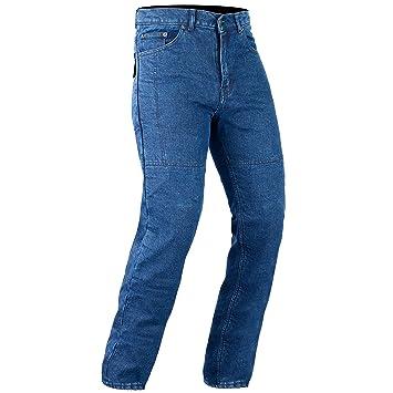 BIKERS GEAR Kevlar Stretch Denim Slim Fit pantalones vaqueros para motorista Protecciones CE, color azul