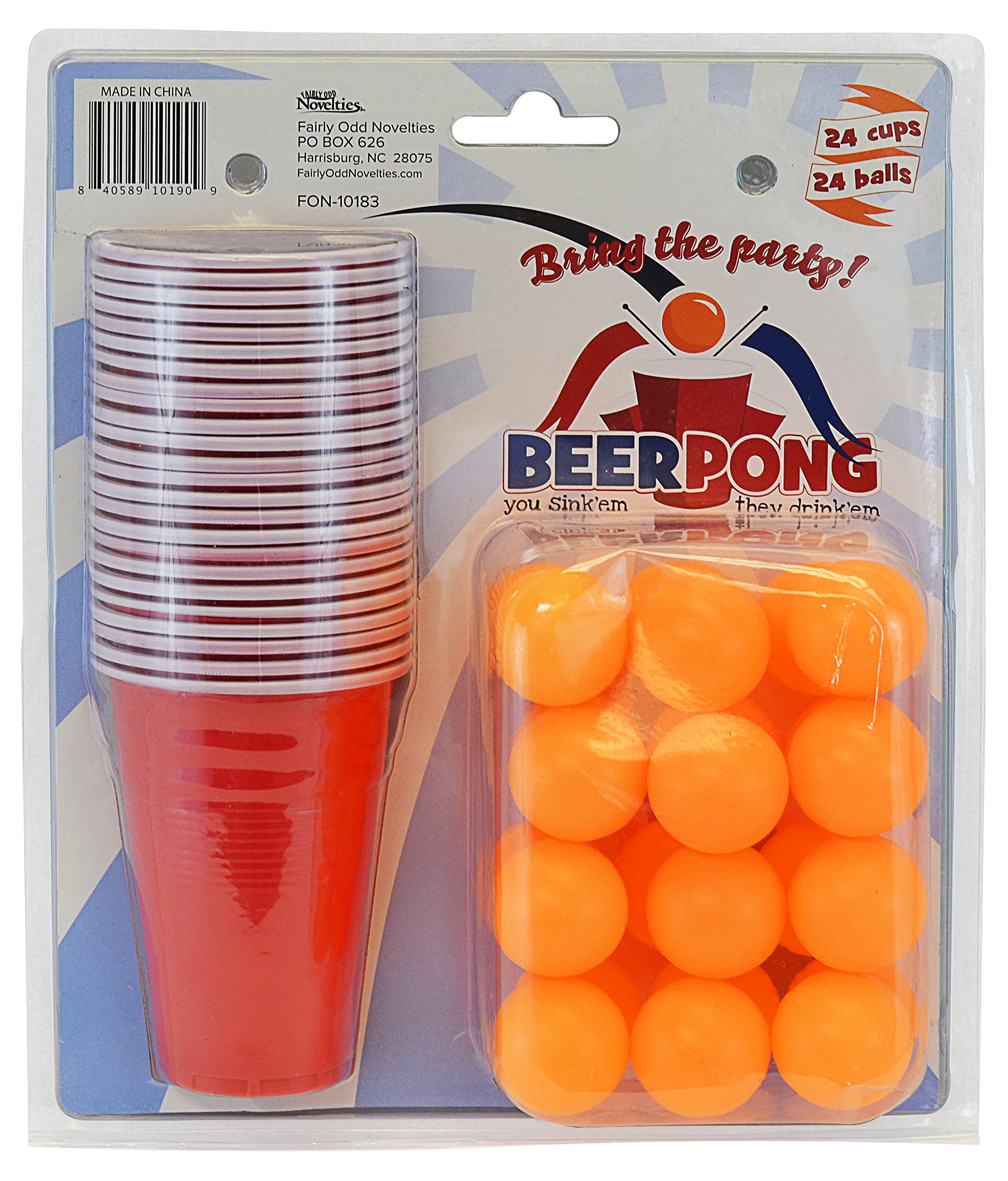 Fairly Odd Novelties Beer Pong Set, 24 Red Cups and Ping Pong Balls.