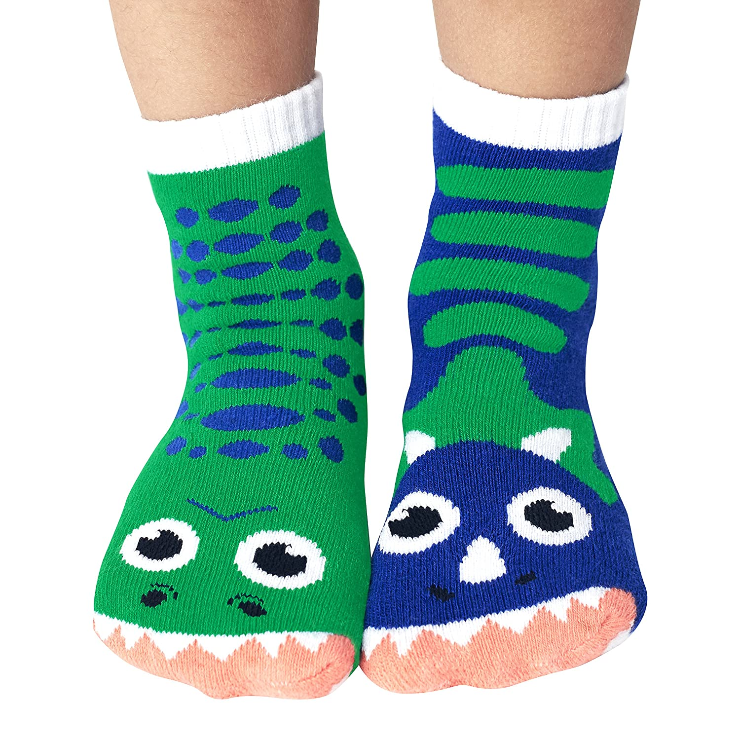 Kids Dinosaur Gripper Socks - Mismatched Friends T-Rex and Triceratops Dinos PS-8 PS-4