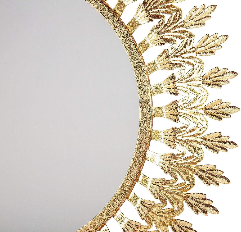 Beliani Stilvoller Spiegel rund Metall 60 x 60 cm Sonnenoptik Gold Vorey