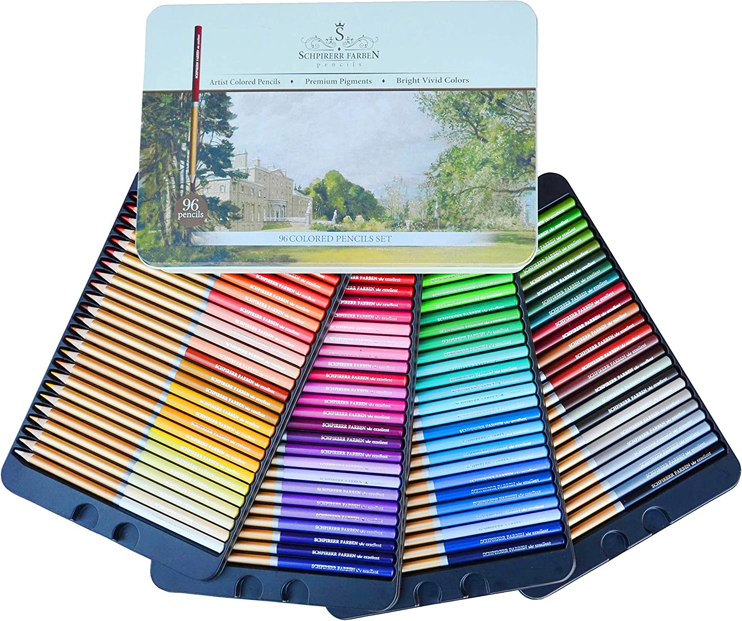 SCHPIRERR FARBEN 96 Color Pencil Set Professional Named & Numbered, Oil Based Soft Core, Ideal For Adult Crafts, Artists, Sketchers & Children