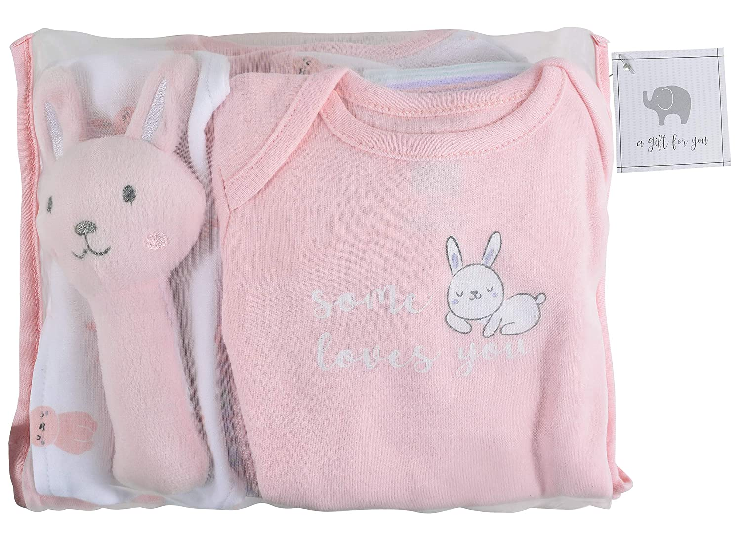 The Peanutshell Newborn Gift Set, 10 Piece Layette Set with Rattle and Bib in Boy, Girl, and Unisex Prints (Bunny)