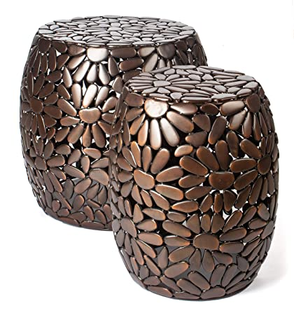Red Fig Home Accent Side Table Set of 2 Two Metal Decorative End Tables with Antique Copper Finish for Bedside, Living Room, Entryway, Hallway