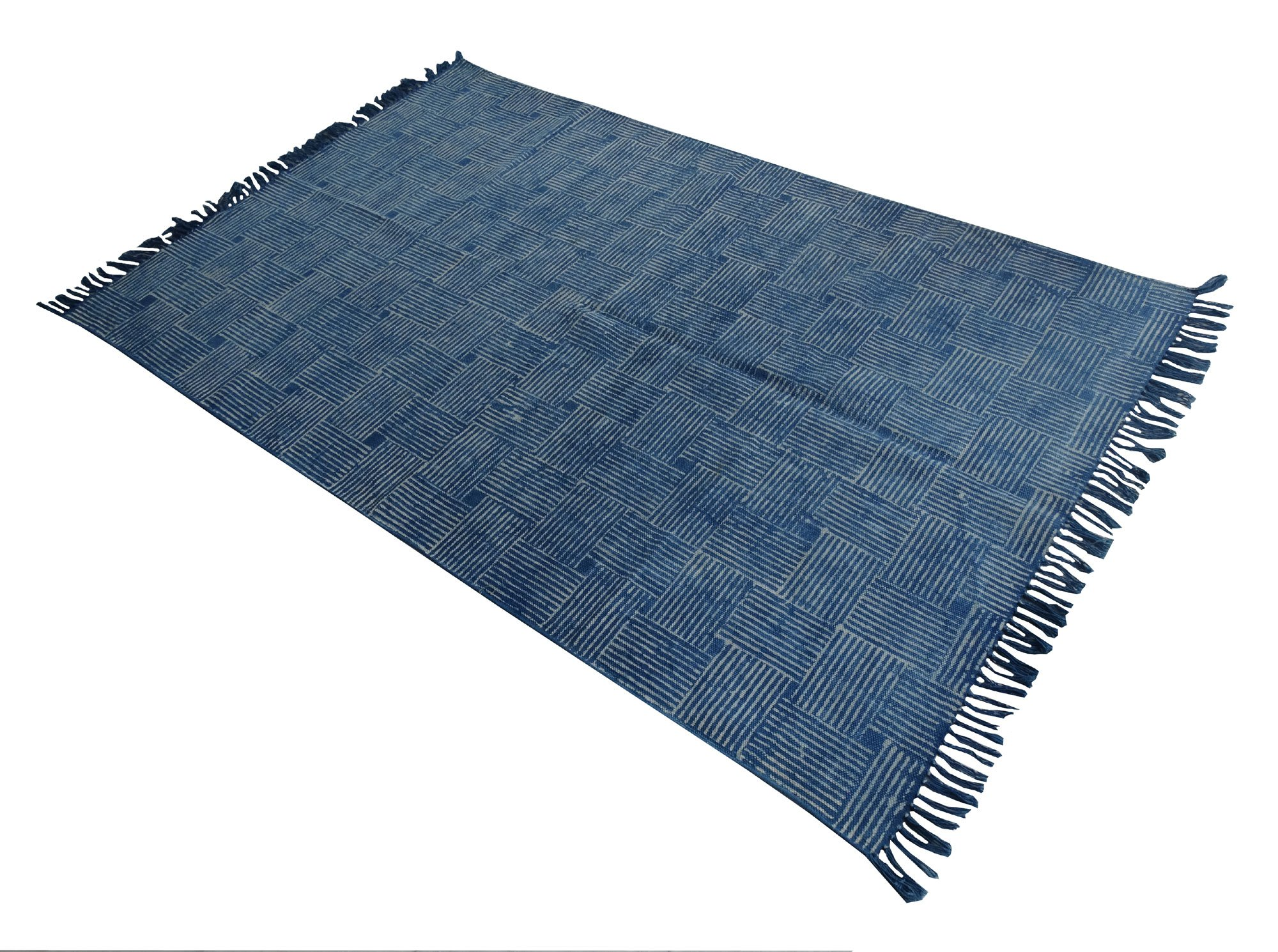 My Craft Palace Cotton Area Rug,Handmade Indigo Block Print Rug