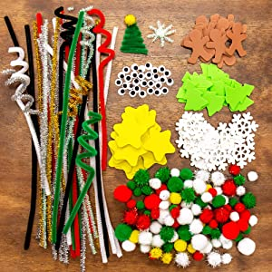 Horizon Group USA DIY Christmas Arts & Crafts Supplies. All in One Crafting & Embellishment Pack. Kit Includes Fuzzy Sticks, Pom Pom's, and Christmas Foam Shapes & More