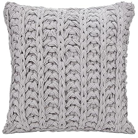 40 X 40 Cm Steel Grey Fashion Knit Knitted Cushion Cover Snug Cuddly