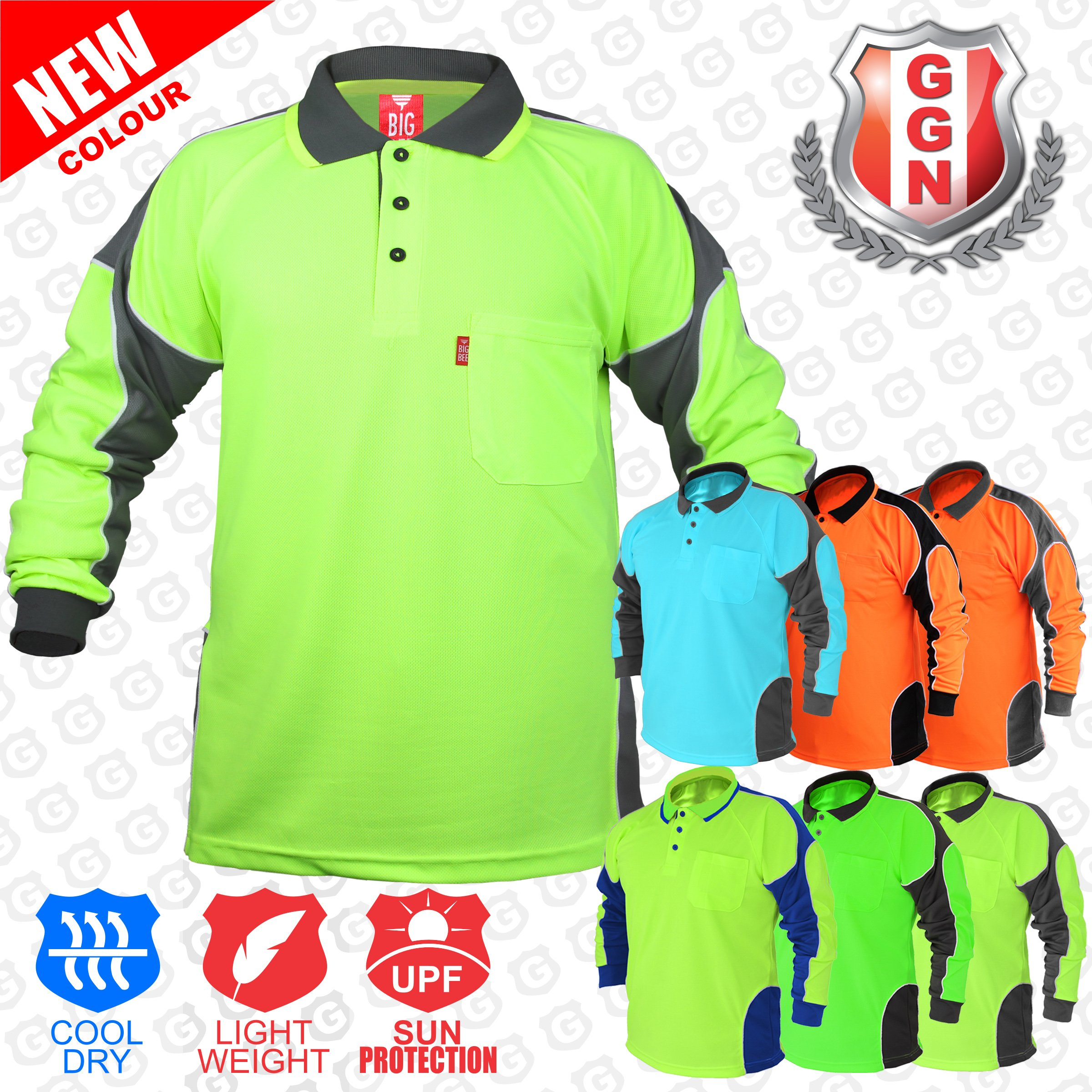 2Pack Hi Vis Polo Shirt Arm Panel With Piing Fluoro Work wear Cool Dry Long Sleeve by BIG BEE (Image #4)