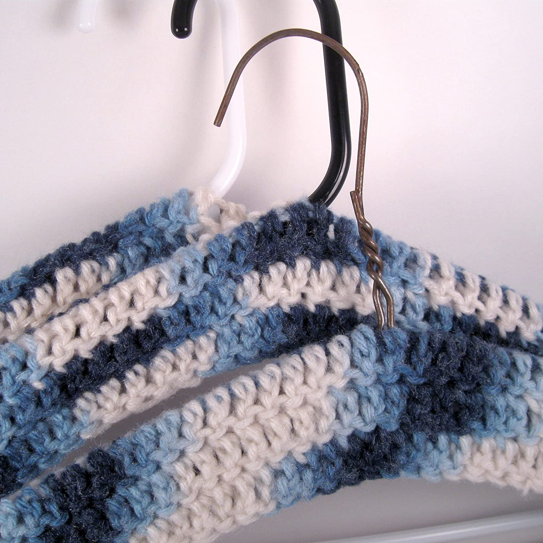 Amazon Crocheted Coat Hanger Cover Variegated Blue Handmade