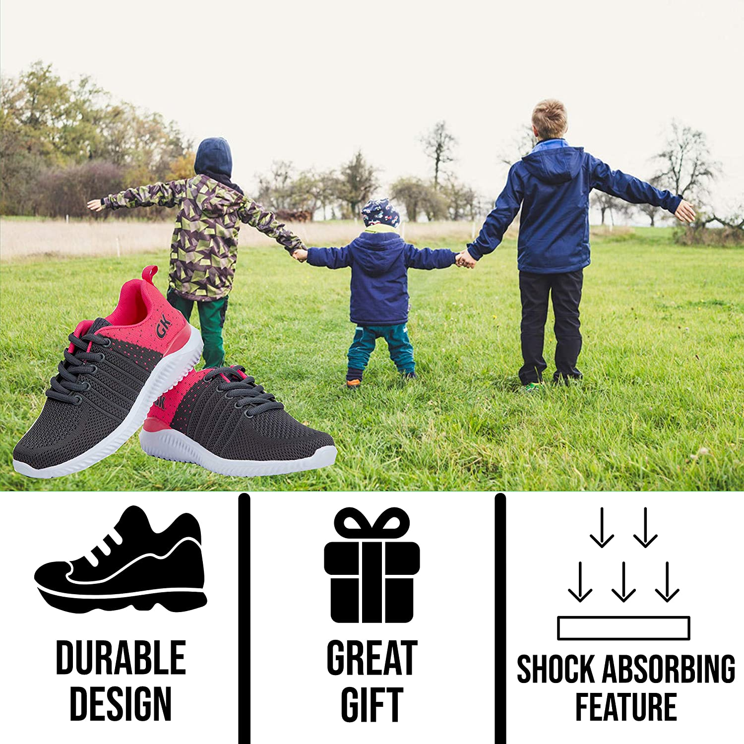 Kids Athletic Tennis Shoes Little Kid Sneakers with Girl and Boy Sizes