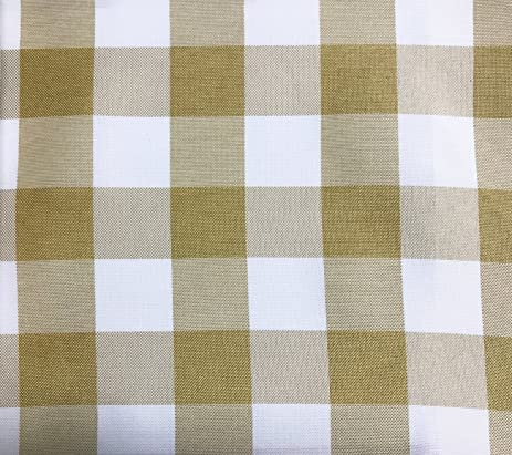 GFCC Brown/White Gingham Checkered Polyester Tablecloth Round Picnic  Tablecloth,120 Inch
