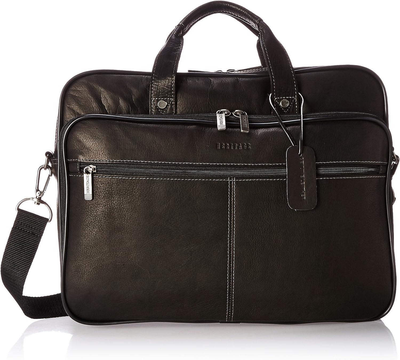 "Heritage Travelware Colombian Leather Dual Compartment Top Zip 16"" Laptop Portfolio, Black"