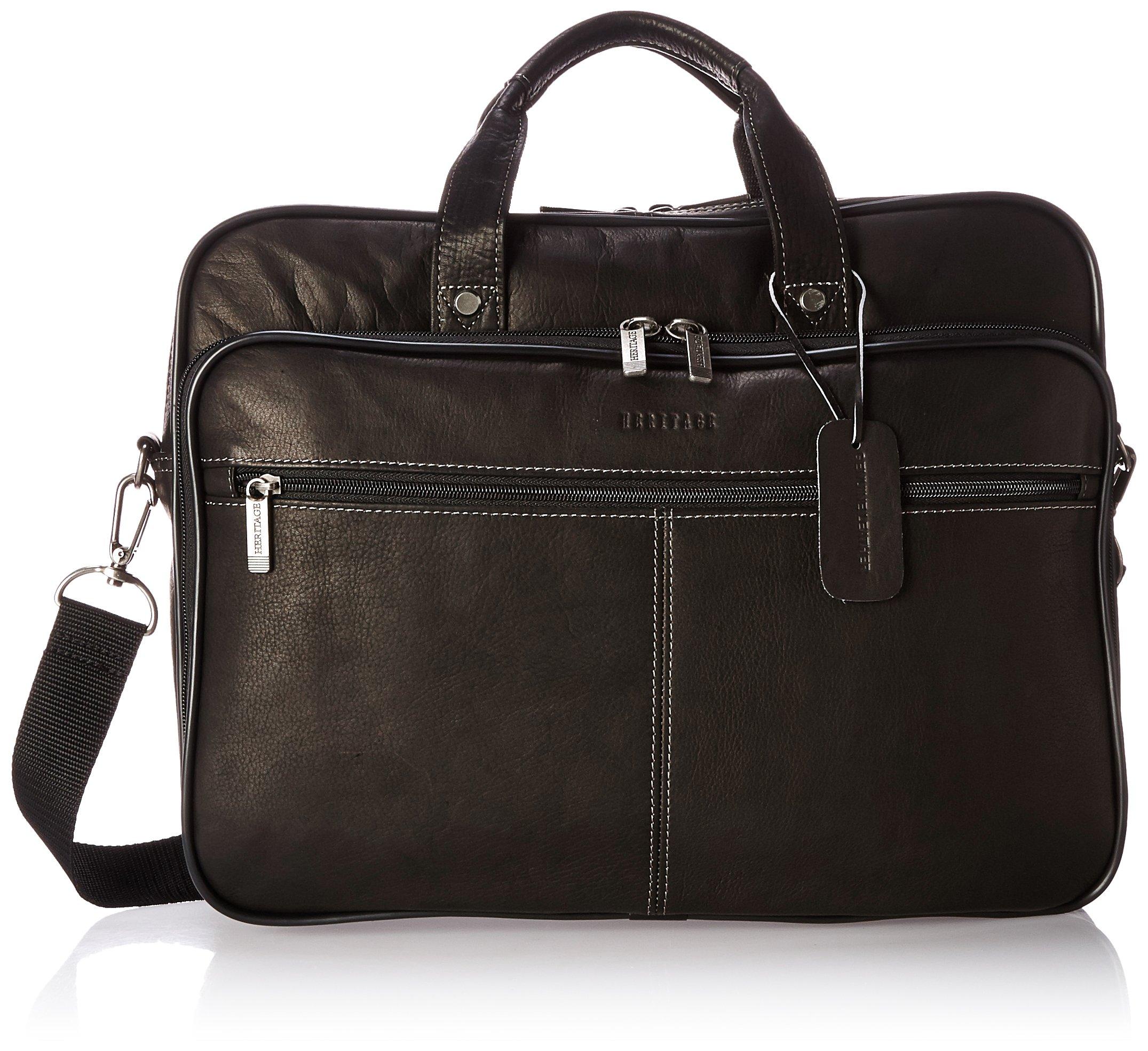 Heritage Travelware Colombian Leather Dual Compartment Top Zip 16'' Laptop Portfolio, Black