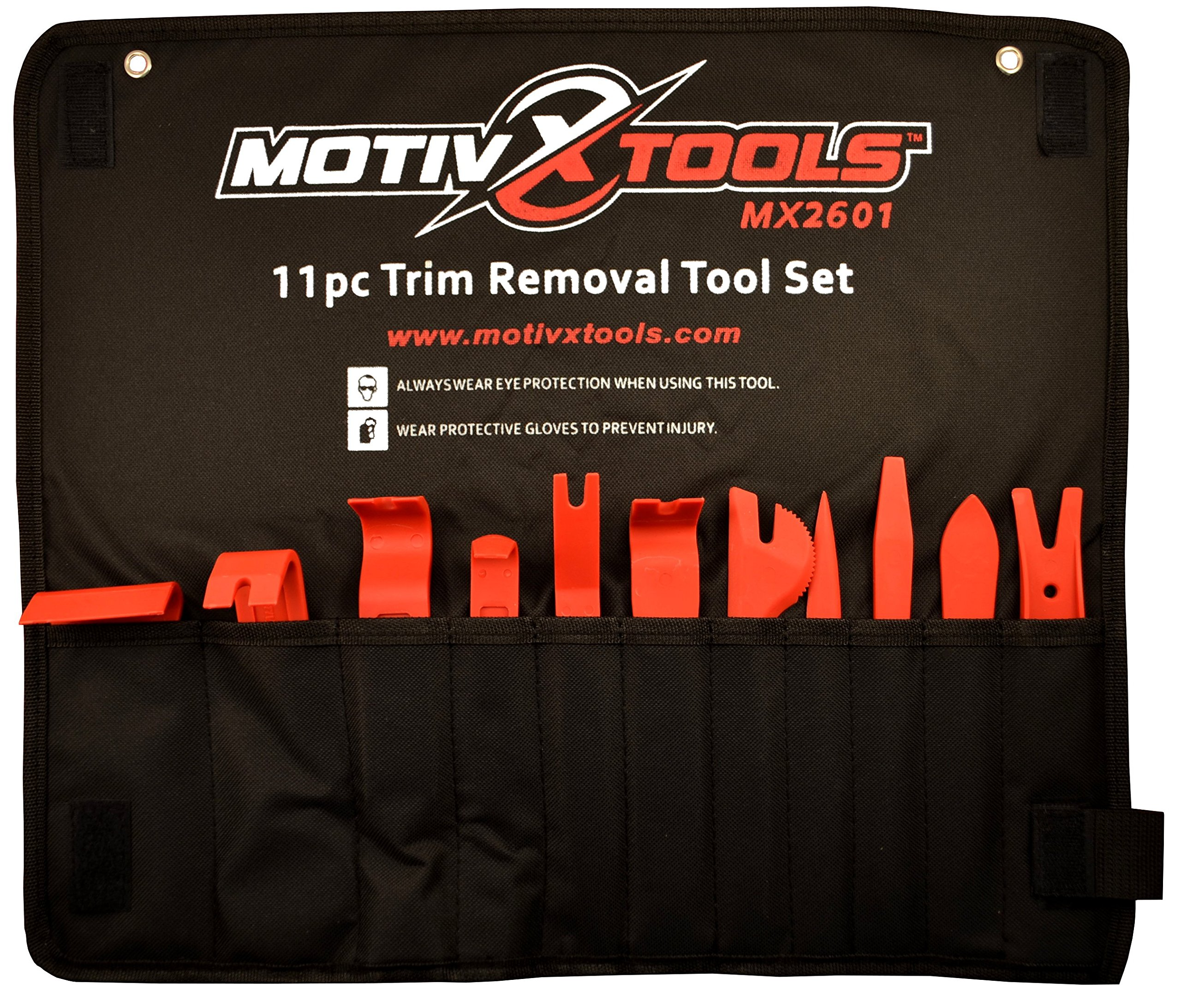 Motivx Tools 11pc Car Trim and Door Panel Removal Kit - Safely Pry Plastic Dash Pieces, Window Trim, Upholstery, Interior and Exterior Auto Parts Without Breaking Clips, Fasteners, or Scratching Paint