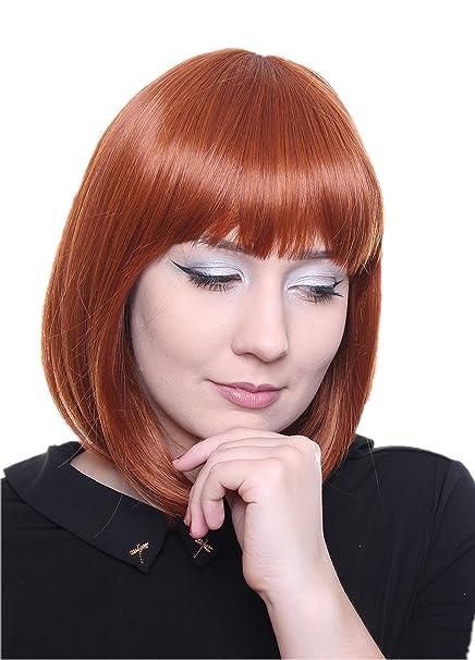 Prettyland C504 - Smooth peluca Bob medio naranja y hebras finas de la peluca de cabello