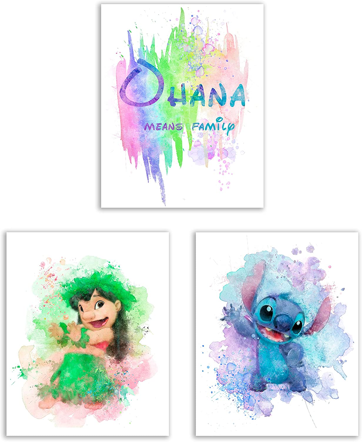 LILO AND STITCH Print Poster Disney Watercolour Framed Canvas Wall Art Nursery