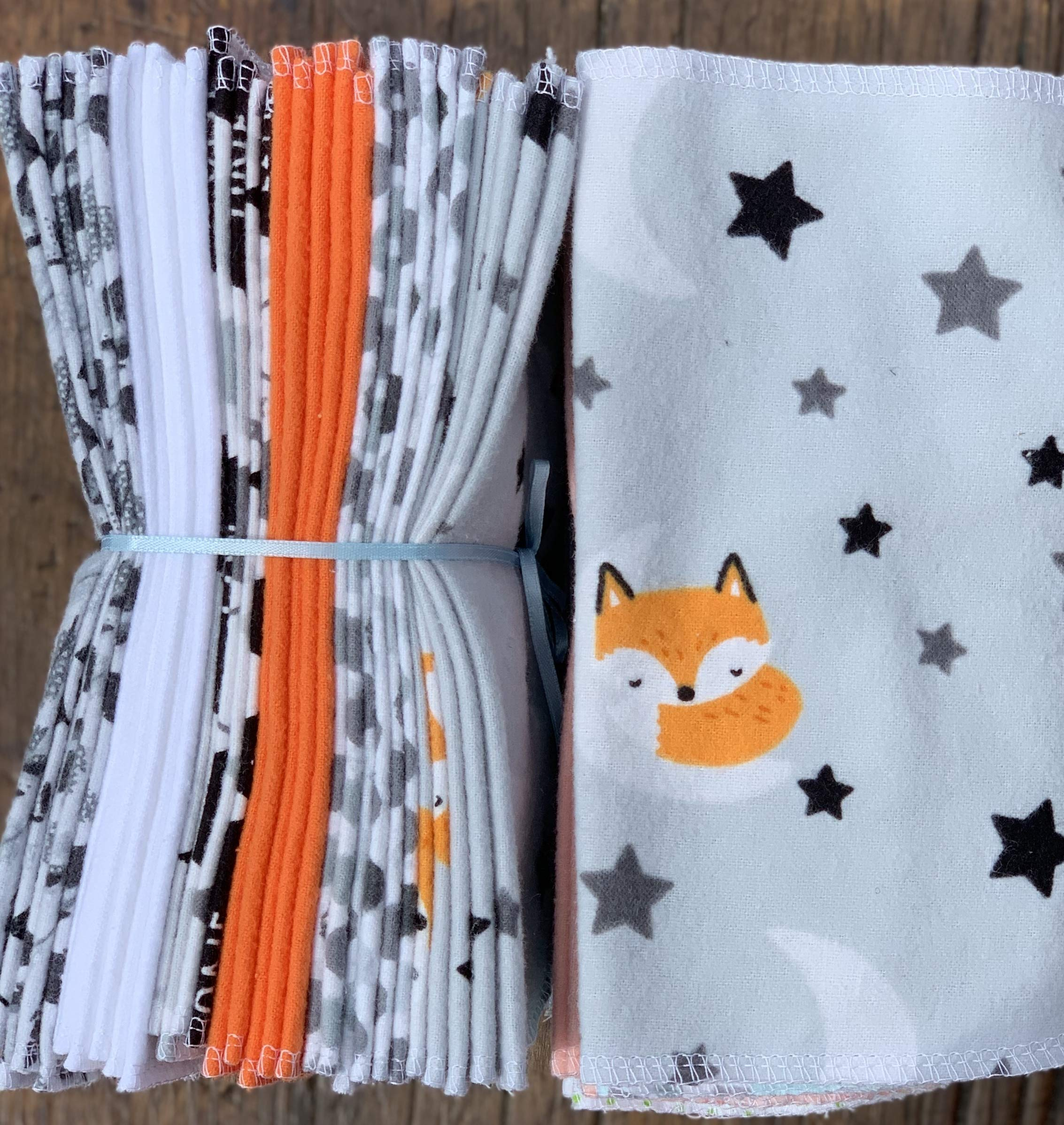 Cloth Baby Wipes Starter Kit. Set of 3 Dozen Wipes. Re Usable Cloth Wipes. Baby Shower Gifts Ideas. Eco Friendly. Reusable Cloth Napkin. Reusable Dryer Sheets. Fox on the Moon by As You Stitch