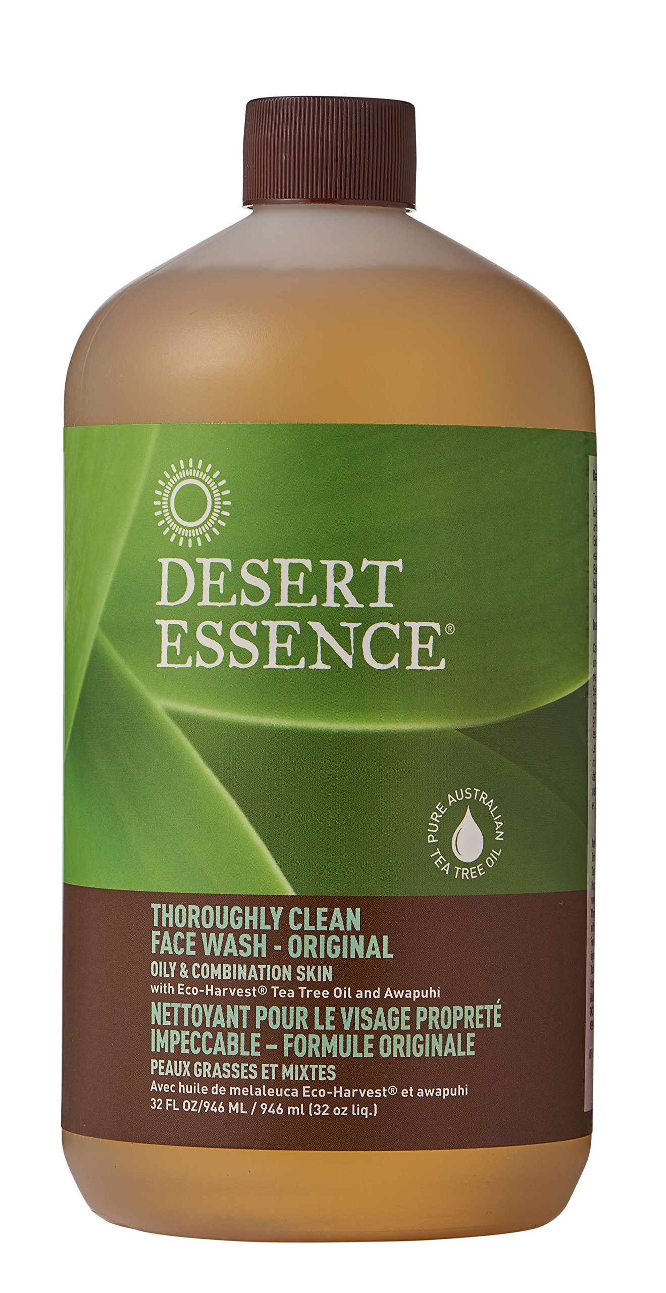 Desert Essence Thoroughly Clean Face Wash - Original - 32 Fl Oz - Tea Tree Oil - For Soft Radiant Skin - Gentle Cleanser - Extracts Of Goldenseal, Awapuhi, Chamomile Essential Oils by Desert Essence