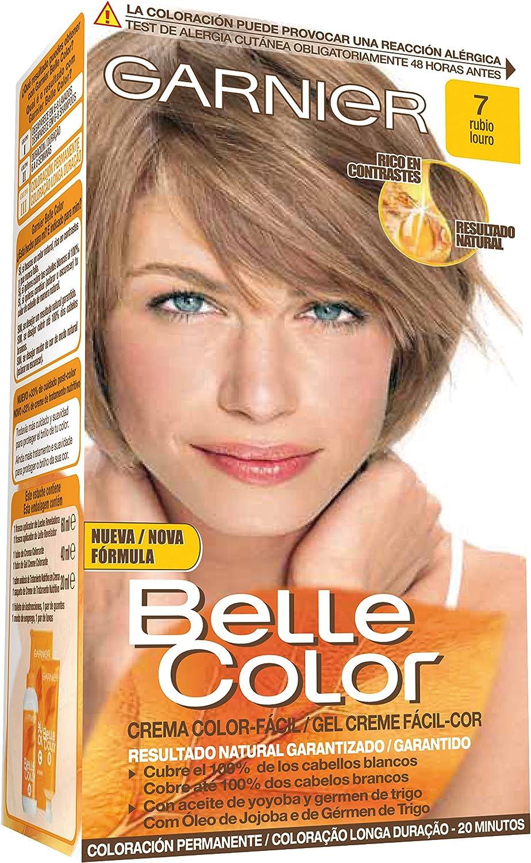Garnier Belle Color Coloración de aspecto natural y cobertura completa de canas con aceite de jojoba y germen de trigo - Tono: Rubio 7