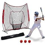 Rukket 7x7 Baseball and Softball Practice Hitting Net PRO Bundle with 3 Training Balls and Strike Zone