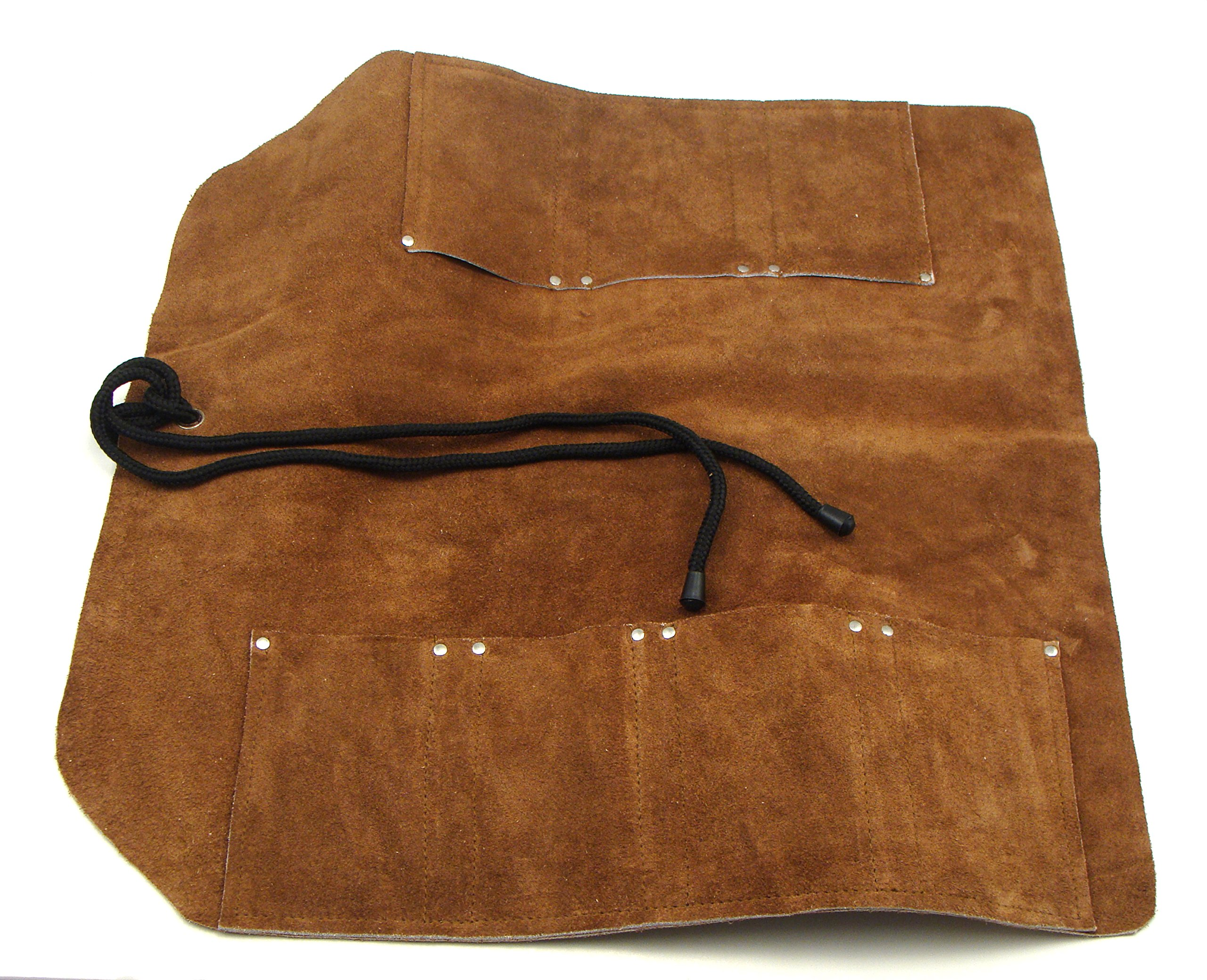 7 Pocket Suede Leather Tool Roll for Larger Wood Chisels, Kitchen Knives, Woodcarving Tools, Wrenches, Screwdrivers