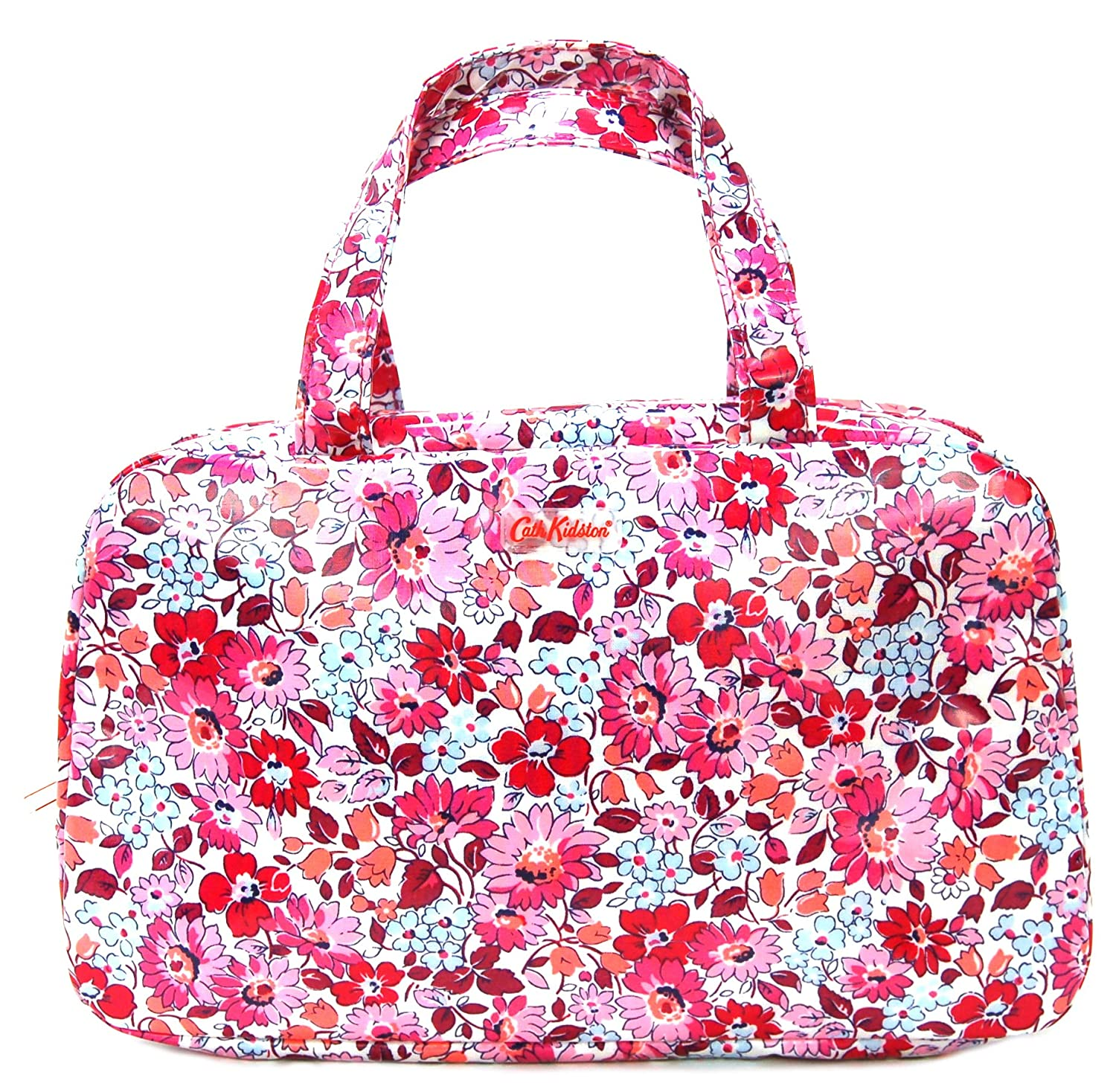 Cath Kidston Large Wash Bag Toiletry Bag with Handles in 'Welham Flowers Design in Cerise Oilcloth