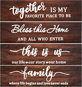 4 Pieces Rustic Farmhouse Wooden Signs This is Us Wooden Sign Bless This Home Wooden Sign Quotes Hanging Wall Sign for Home Farmhouse Wall Decor, 15 x 4 x 0.4 Inch (Brown)