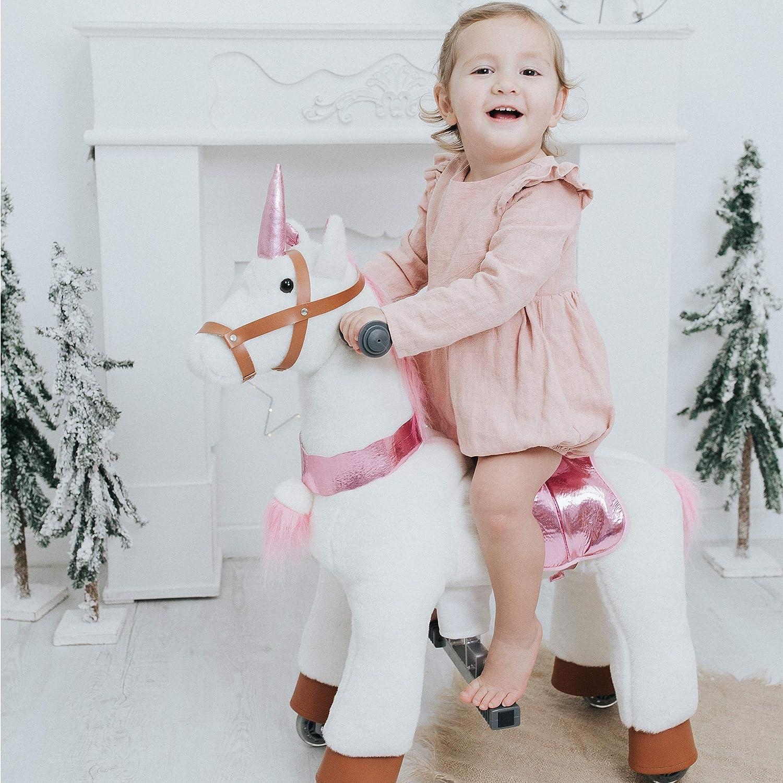 Kind auf Einhorn Rollpferd