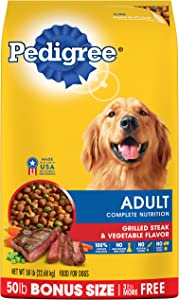 PEDIGREE Adult Complete Nutrition Grilled Steak & Vegetable Flavor Dry Dog Food 50 Pounds (50 pounds Pack of 2)