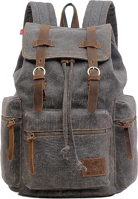 Mens Canvas Backpack Rucksack Satchel Laptop Shoulder Travel Camping Bag
