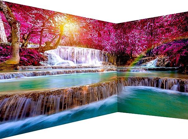 decomonkey D/éco Mural Tableaux Muraux Photo 3d Effet Architecture Papier peint intiss/é Foret Nature 350x256 cm Trompe l oeil