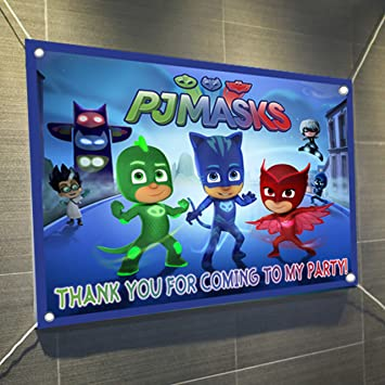 PJ Masks Large Vinyl Indoor or Outdoor Banner Sign Poster Backdrop, party favor decoration,