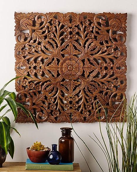 24 D Amapura Hand Carved Teak Wood Wall Decor Teak Wood Wall Relief Panel Asian Inspired Wall Decor Bohemian Wood Carving