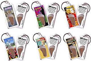 """product image for New Orleans""""FootWhere"""" Keychains. 6 Piece Set. Authentic Destination Souvenir acknowledging Where You've Set Foot. Genuine Soil of Featured Location encased Inside Foot Cavity. Made in USA"""