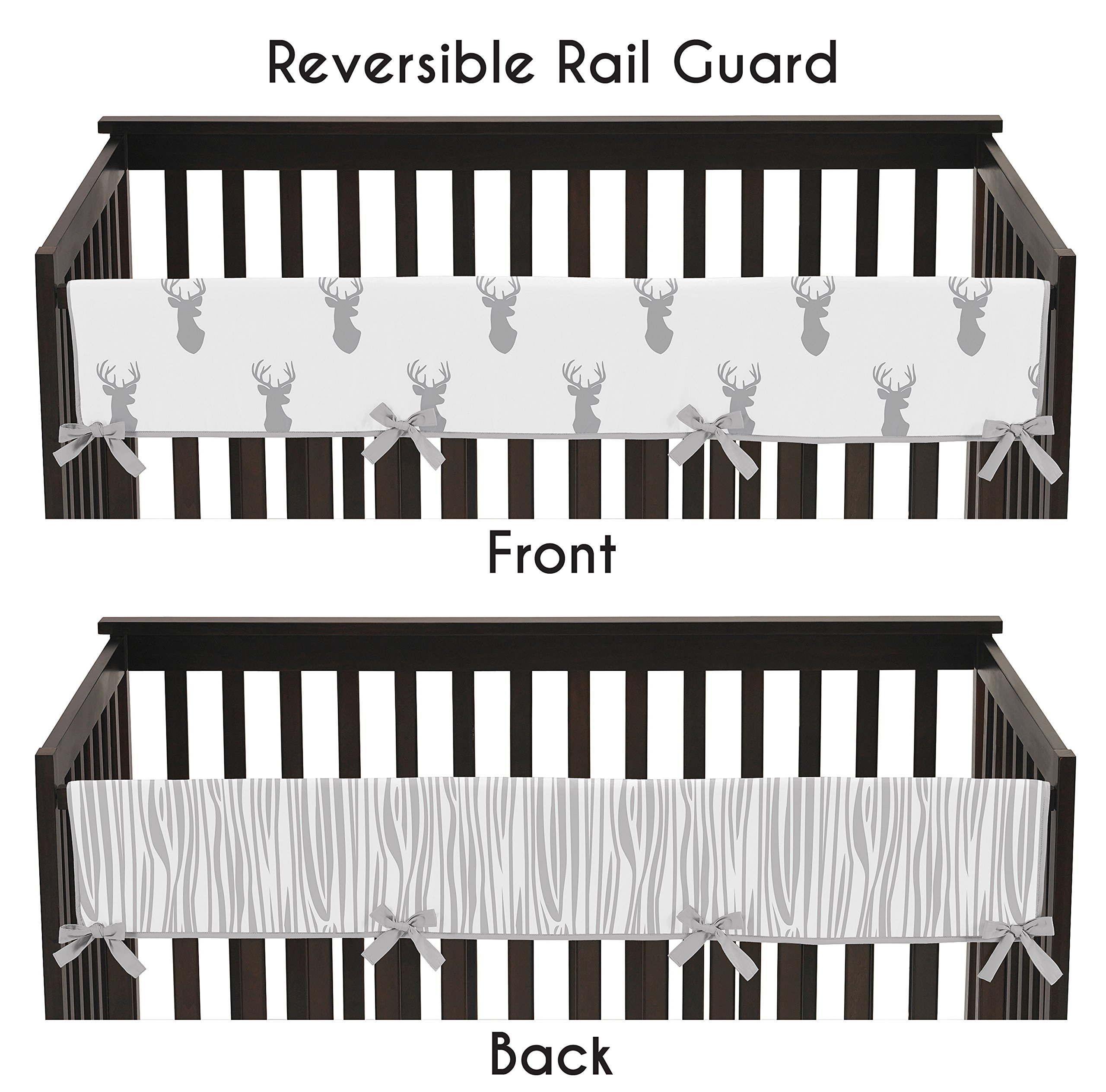 Sweet Jojo Designs Grey and White Woodland Deer Long Front Rail Guard Baby Teething Cover Crib Protector Wrap