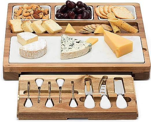 Amazon.com: Tabla de queso Shanik con 7 piezas de acero ...