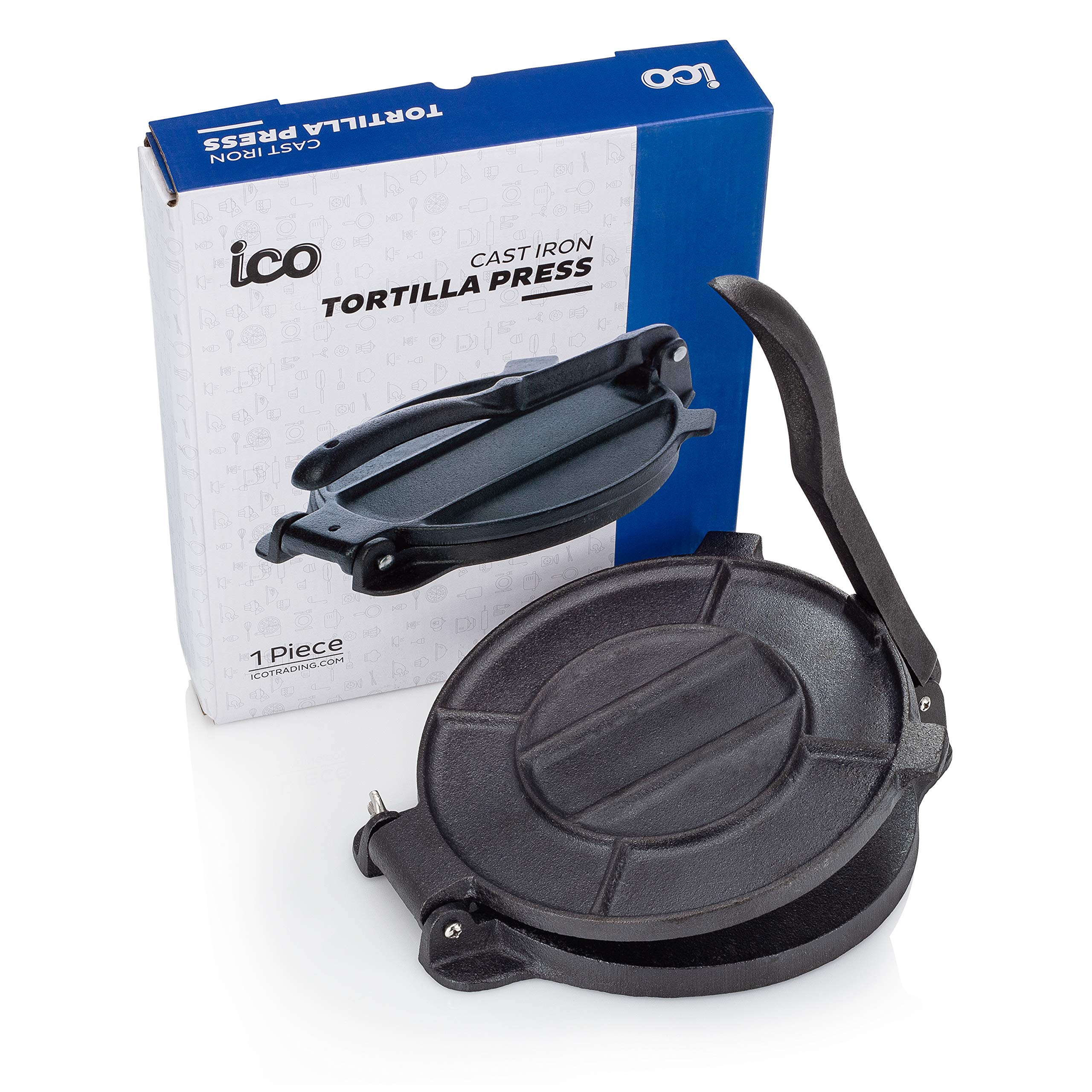 Cast Iron Tortilla Press, Tortilla, Roti, and Flatbread Maker (Pre-Seasoned) - makes fresh Corn or Flour Tortillas for grilling by Impeccable Culinary Objects (ICO) (Image #1)