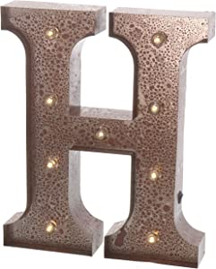 "Barnyard Designs Metal Marquee Letter H Light Up Wall Initial Wedding, Home and Bar Decoration 12"" (Rust)"