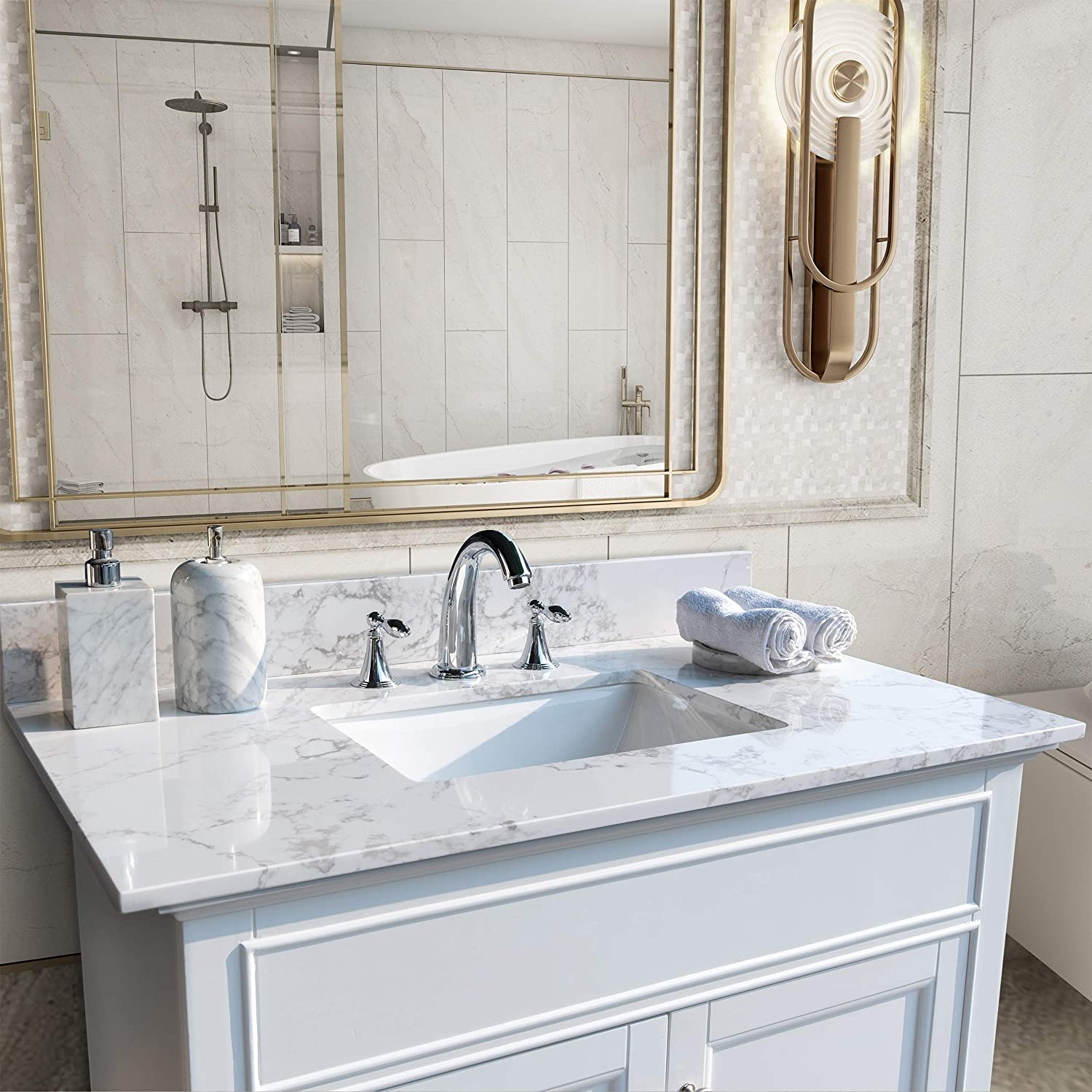 43 X 22 Vanity Top Stone Carrara White Tops With Undercounter Rectangular Ceramic Bathroom Sink And Back Splash For Bathrom Cabinet Natrual Marble Stone 8 Faucet Holes Kitchen Bath Fixtures Tools