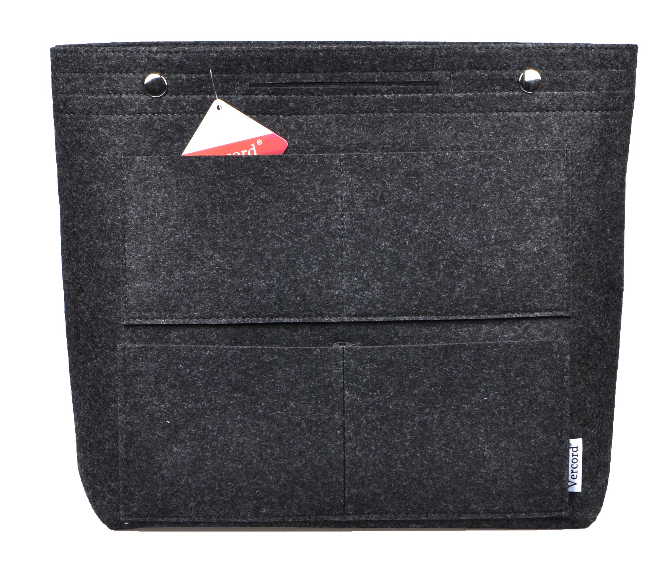 Vercord Long Large Felt Handbag Tote Purse Organizer Insert Liner Multi-Pocket, Dark Grey by Vercord