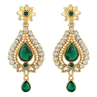30c8f6ddc0 Buy Sukai Jewels Green Pearl Ruby Gold Plated Zinc Cz AD Studded Dangle and Drop  Earring for Women & Girls [SER232G] Online at Low Prices in India | Amazon  ...