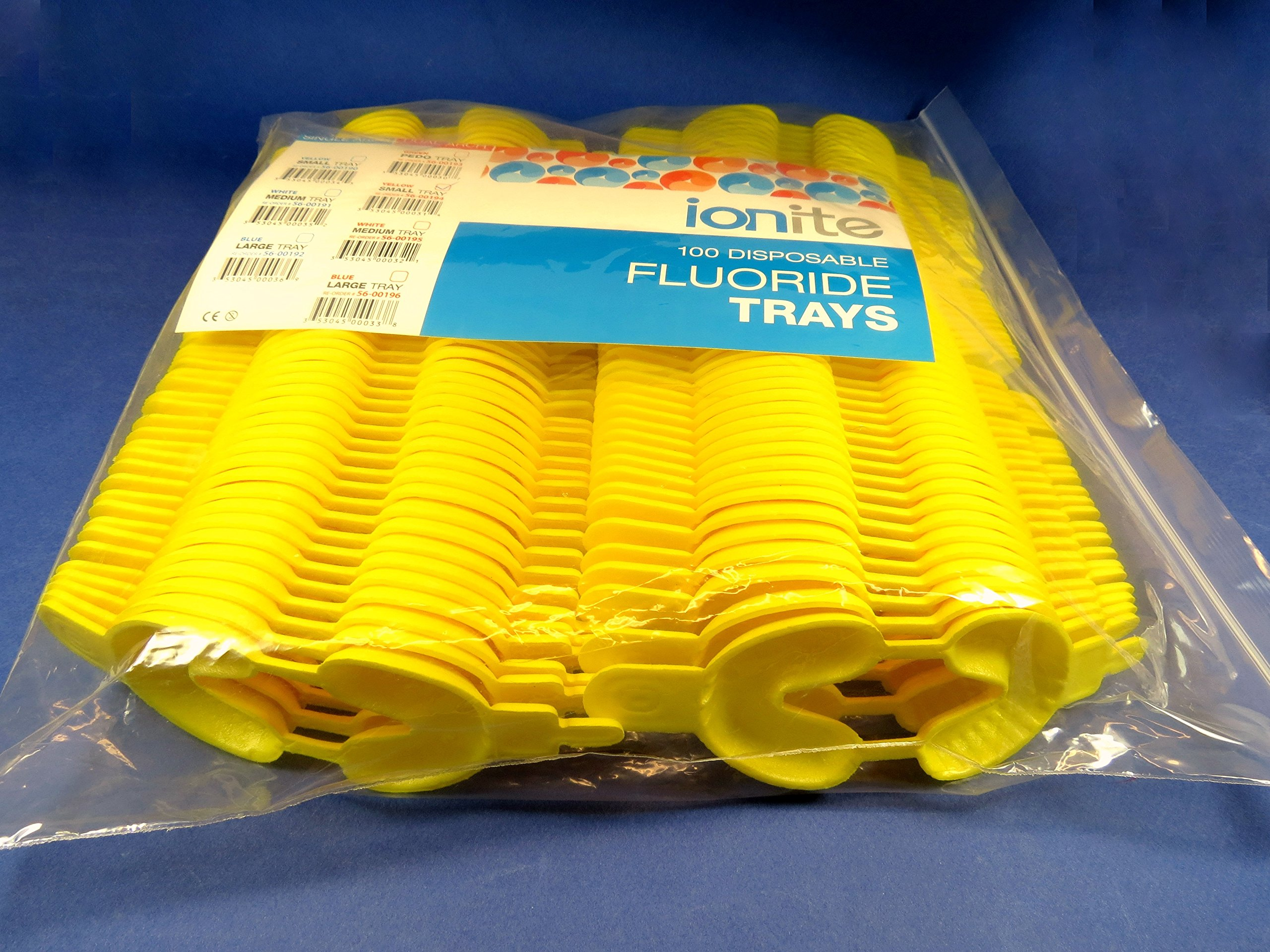 100x Fluoride Arch Foam Trays Dental Dual SMALL Yellow Pack Disposable Cubetas