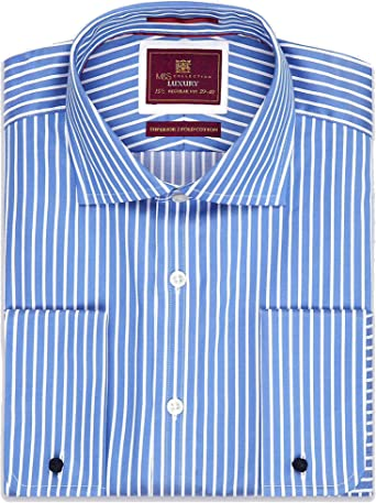 M/&S Marks Spencer Men Luxury Slim Fit Cotton Striped Shirt w Stretch Blue BNWT