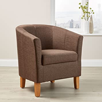 Home Source Brown Fabric Tub Chair Wooden Legs Armchair Living Room ...