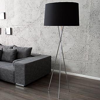 Elegante Design Stehlampe CLASSIQUE 165cm schwarz drei Beine Chrom ...